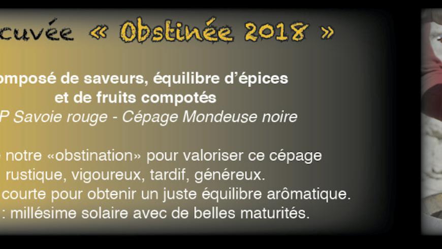 Obstinée 2018 – AOP Savoie rouge cépage Mondeuse noire